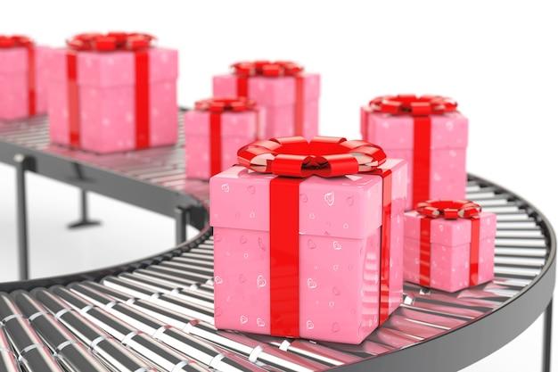 Concept de livraison de cadeaux. orné de coeurs papier boîte-cadeau sur convoyeur dans l'entrepôt sur un fond blanc. rendu 3d.