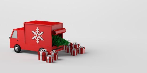 Concept de livraison à domicile de cadeaux de noël avec van. espace de copie. illustration 3d.