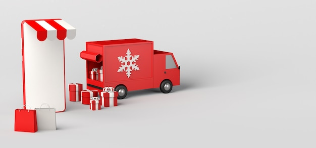 Concept de livraison à domicile de cadeaux de noël avec van et smartphone. espace de copie. illustration 3d.