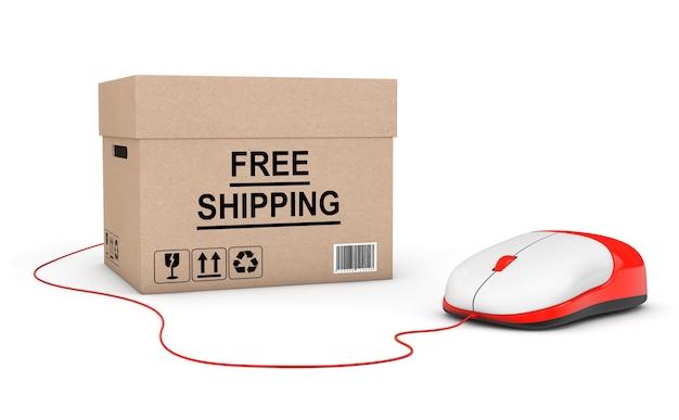 Concept de livraison gratuite. boîte de livraison gratuite connectée à une souris d'ordinateur sur fond blanc