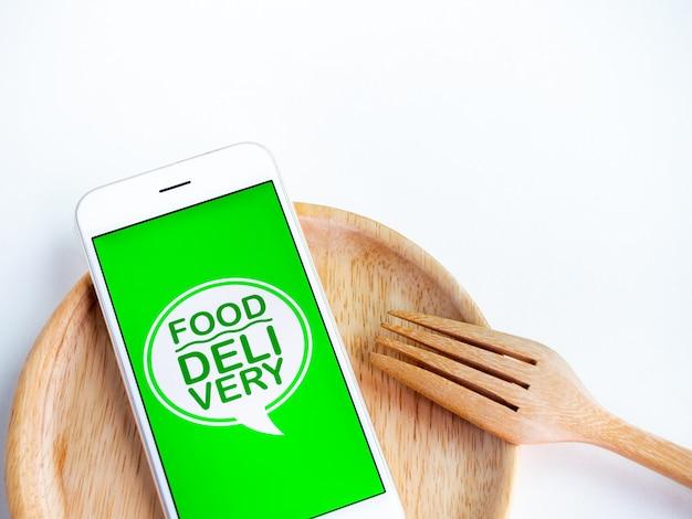 Concept de livraison de nourriture. mots