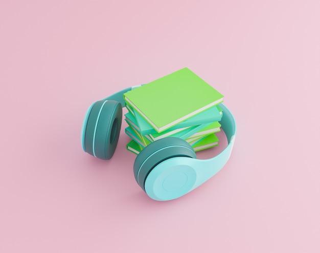 Concept de livre audio. écouteurs et livres sur fond minimaliste avec des couleurs pastel. rendu 3d