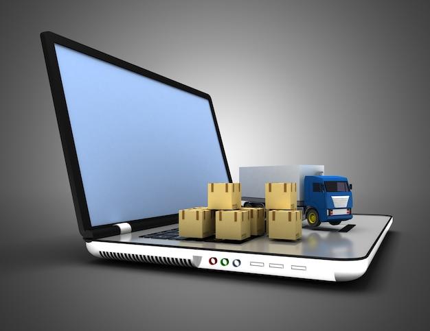 Concept logistique 3d. camion et ordinateur portable. illustration 3d