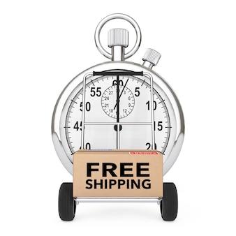 Concept logistique. chronomètre près de la boîte avec livraison gratuite signer sur panier sur un fond blanc. rendu 3d.