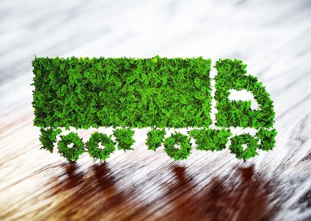 Concept de logistique écologique. illustration 3d d'un camion vert avec un arrière-plan flou en bois.