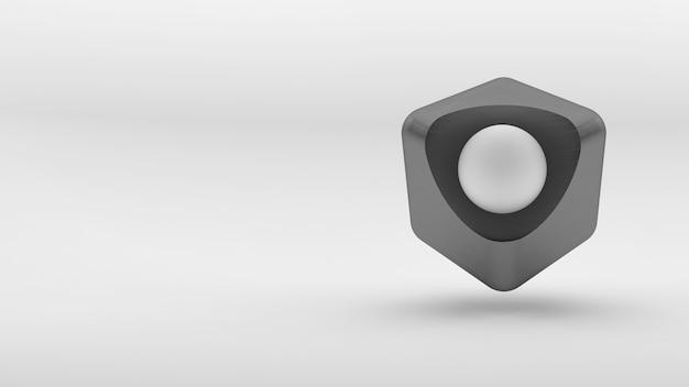 Concept de logo isométrique de cube sur fond blanc. rendu 3d.
