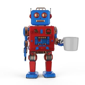 Concept de machine à café d'automatisation avec jouet en étain robot rendu 3d avec mug sur fond blanc