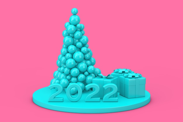 Concept de magasinage du nouvel an. boules bleues en forme d'arbre de noël, signe du nouvel an 2022 et coffrets cadeaux en style bichromie sur fond rose. rendu 3d