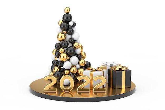 Concept de magasinage du nouvel an. boules d'or en forme d'arbre de noël, signe de nouvel an or 2022 et coffrets cadeaux sur fond blanc. rendu 3d