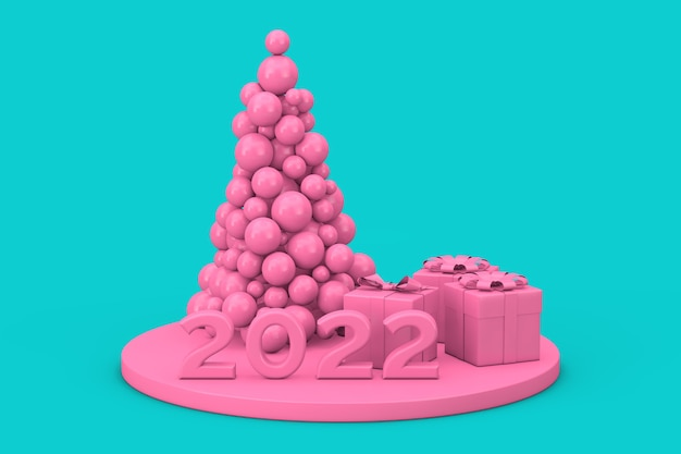 Concept de magasinage du nouvel an. boules roses en forme d'arbre de noël, signe du nouvel an 2022 et coffrets cadeaux en style bichromie sur fond bleu. rendu 3d