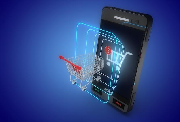 Concept de magasinage en ligne 3d. portable et chariot de smartphone. illustration 3d