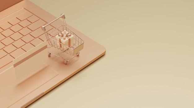 Concept de magasinage en ligne de rendu 3d.