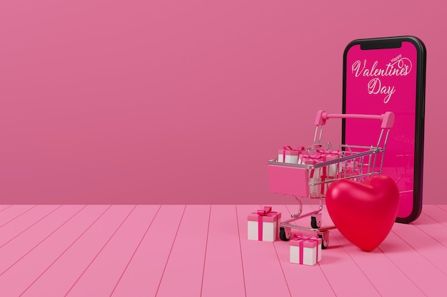 Concept de magasinage en ligne valentine sur table en bois, illustrateur de rendu 3d.