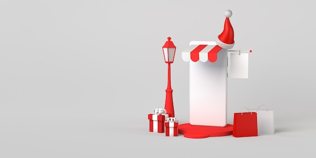 Concept de magasinage de noël en ligne avec smartphone. espace de copie. illustration 3d.