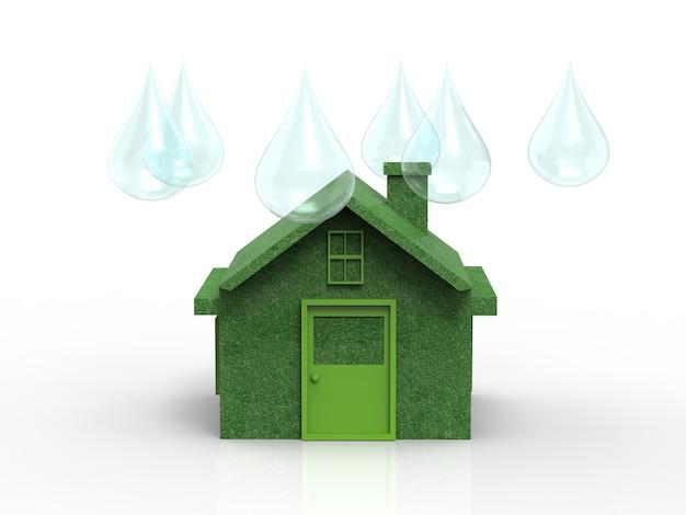 Concept de maison écologique avec modèle de maison verte et gouttes d'eau