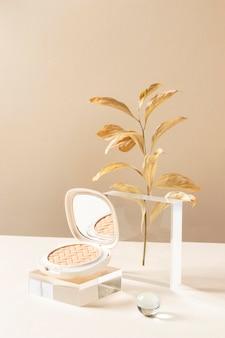 Concept de maquillage avec de la poudre et des plantes