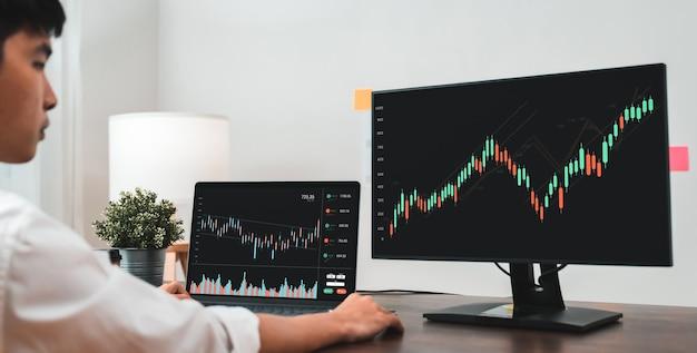 Concept de marché boursier, commerçant de gens d'affaires regardant un ordinateur avec une ligne de bougie d'analyse de graphiques sur une table au bureau, des diagrammes à l'écran.