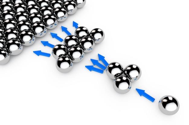 Concept de marketing social. sphères chromées avec des flèches sur fond blanc. rendu 3d.