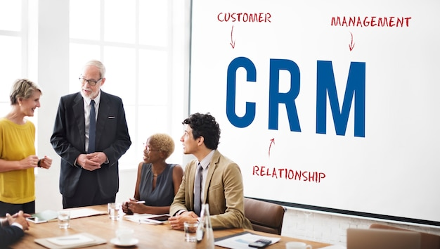 Concept de marketing de stratégie d'entreprise d'entreprise de crm