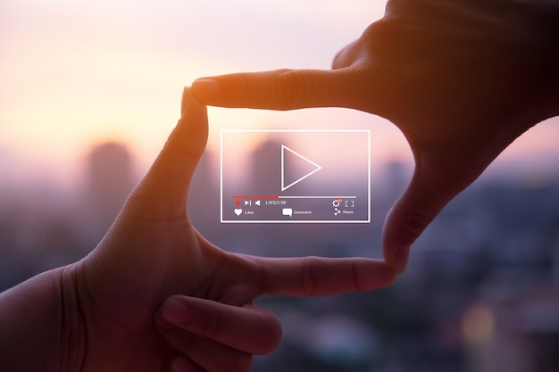 Concept de marketing vidéo en direct en ligne