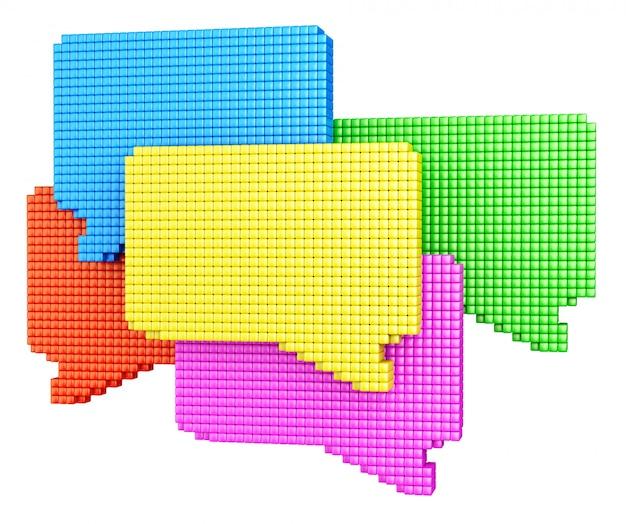 Concept de média internet. groupe de formes de bulles colorées faites de cubes brillants isolés