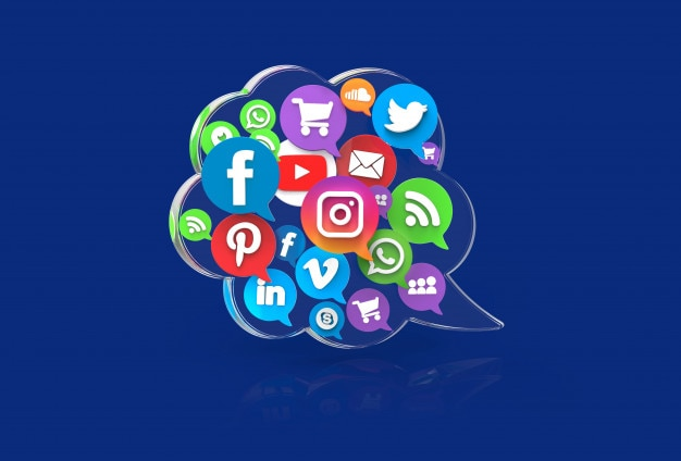 Concept de médias sociaux dans un nuage de dialogue transparent
