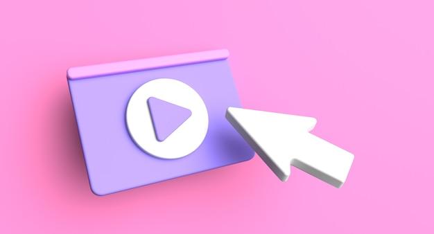 Concept de médias sociaux de page web. illustration d'icône de lecture vidéo. rendu 3d