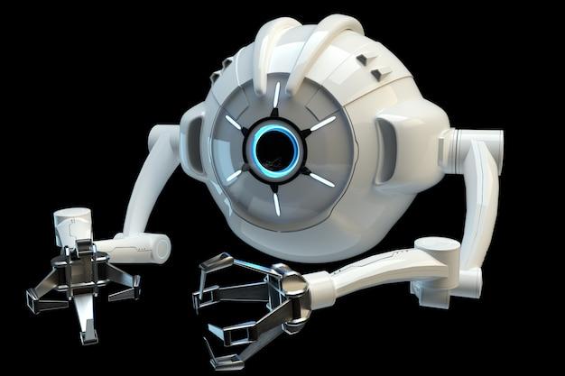 Concept médical dans le domaine de la nanotechnologie, nanorobot isolé sur un mur sombre. génie génétique et utilisation de nanorobots. rendu 3d, illustration 3d.