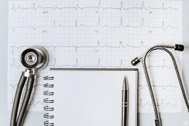 Concept médical à plat avec stéthoscope, cardiogramme et prescription médicale sur le bureau du médecin