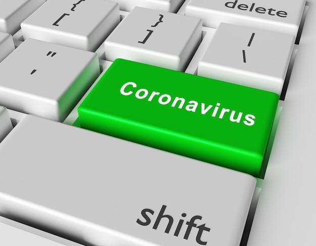 Concept médical. word coronavirus sur le bouton du clavier de l'ordinateur