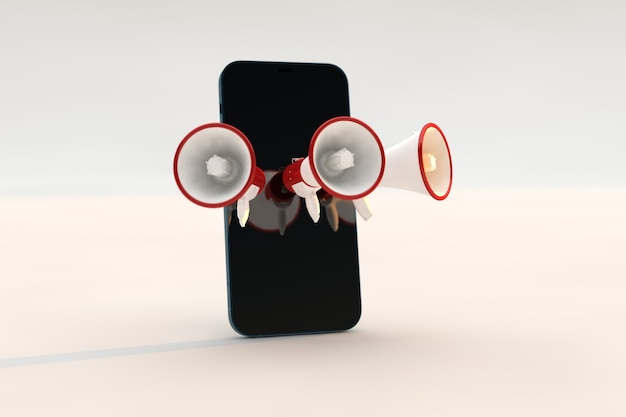 Concept de mégaphone avec smartphone, marketing numérique.