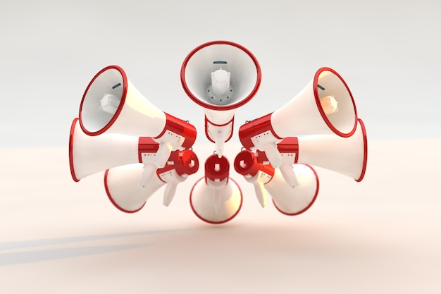 Concept de mégaphones sur fond blanc, concept d'annonce de technologie moderne.