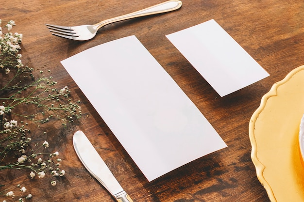 Concept de menu de mariage