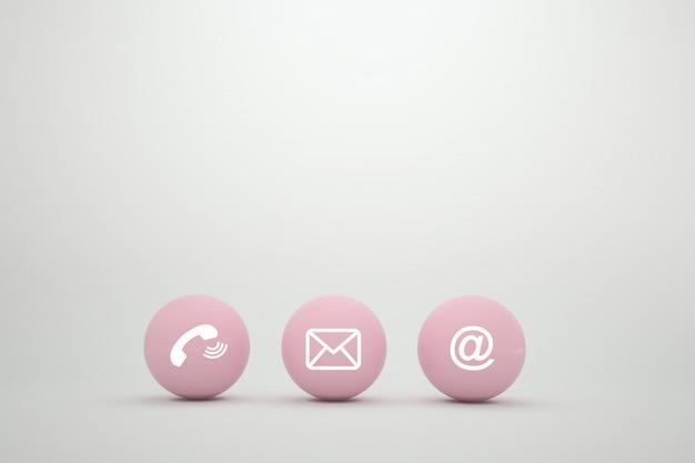 Concept de méthodes de contact sur la page web ou le marketing par e-mail.