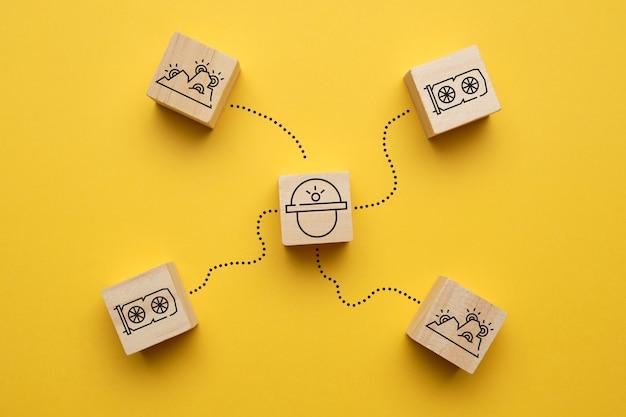 Concept de mineur pour la crypto-monnaie avec des fermes abstraites à partir de cartes vidéo.