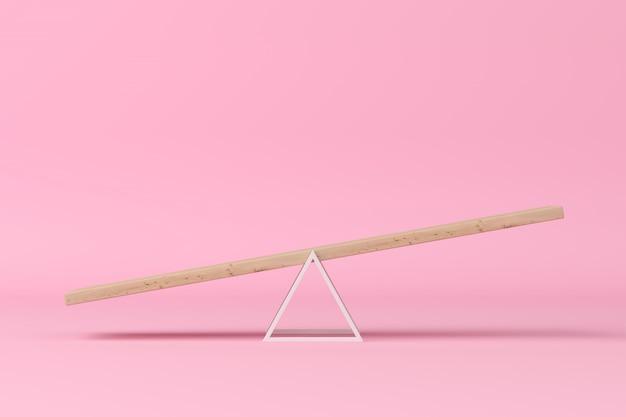 Concept minimal. balançoire en pente exceptionnelle sur fond rose. rendu 3d