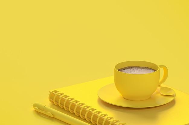 Concept minimal, café au lait dans une tasse jaune sur un cahier à côté d'un stylo de couleur jaune et copie