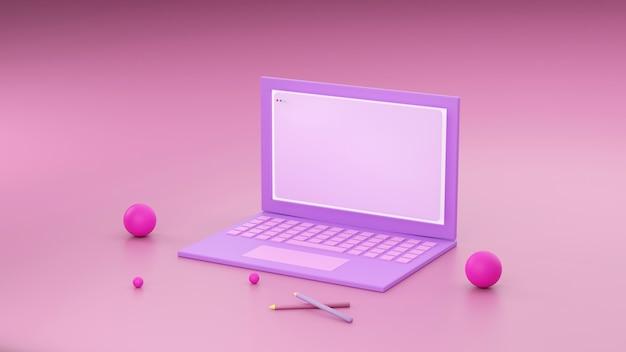 Concept minimal, ordinateur portable sur table bureau de travail couleur rose et violet et maquette pour votre texte avec ordinateur portable et tasse. rendu 3d. - illustrations