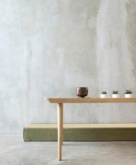 Concept de minimalisme de table de salle vide