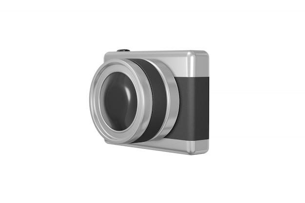 Concept minimaliste métallique noir gris caméra style cartoon photo isolé sur fond blanc rendu 3d