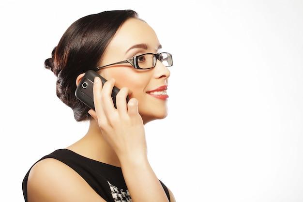 Concept de mode de vie, des affaires et des personnes: femme d'affaires souriant