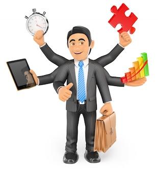 Concept multitâche homme d'affaires 3d avec le pouce vers le haut