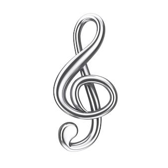 Concept musical. signe de clé de sol en argent sur fond blanc. rendu 3d