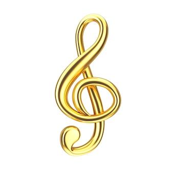 Concept musical. signe de clé de sol d'or sur un fond blanc. rendu 3d