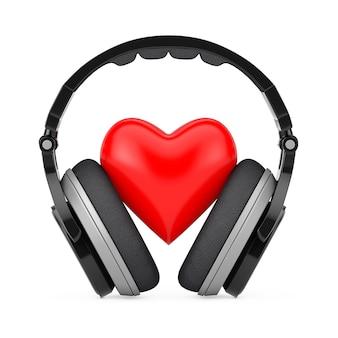 Concept de musique d'amour. casque sans fil noir et coeur rouge sur fond blanc. rendu 3d