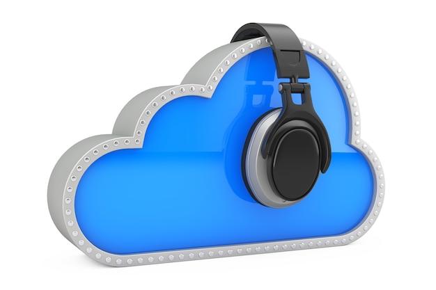 Concept de musique en ligne. casque au-dessus du cloud storage sur fond blanc. rendu 3d