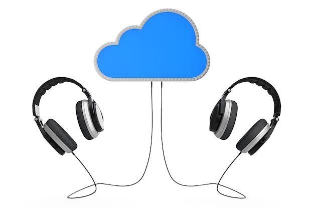 Concept de musique en ligne. casque connecté au stockage en nuage sur un fond blanc. rendu 3d