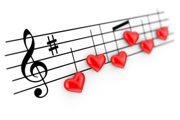 Concept de musique romantique. notes abstraites comme coeurs rouges sur fond blanc. rendu 3d