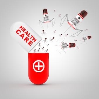 Concept de nanotechnologie de la médecine. les robots nano microscopiques sortent de la capsule de soins de santé à pilule ouverte sur fond blanc. rendu 3d