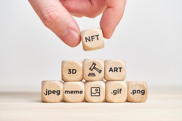 Concept nft et achat et vente d'art numérique aux enchères.